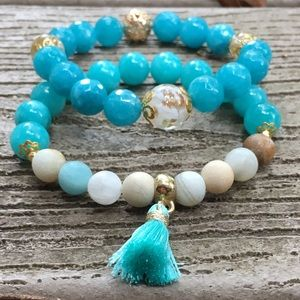 Jewelry - Blue Chalcedony Bracelet, Throat Chakra Bracelets
